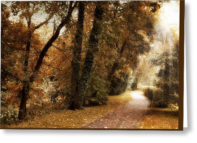 Country Lanes Digital Greeting Cards - October Trail Greeting Card by Jessica Jenney