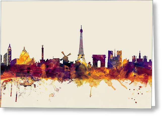 Eiffel Tower Greeting Cards - Paris France Skyline Greeting Card by Michael Tompsett