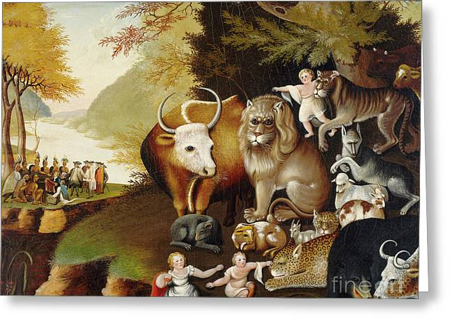 Peaceable Kingdom Greeting Card by Edward Hicks