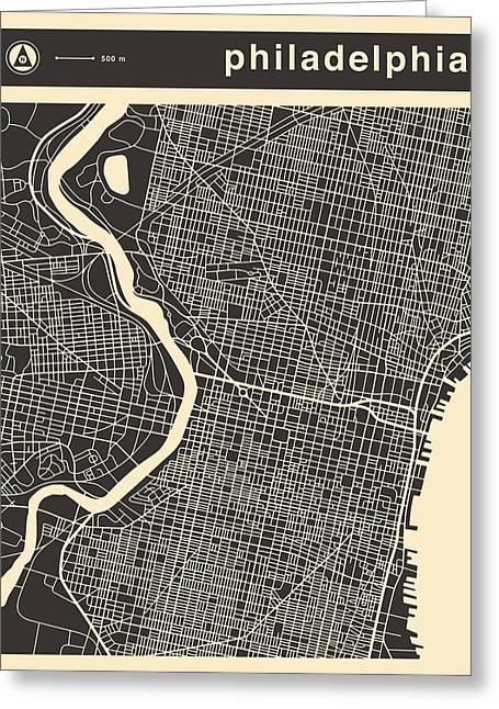 Philadelphia Greeting Cards - Philadelphia Map Greeting Card by Jazzberry Blue