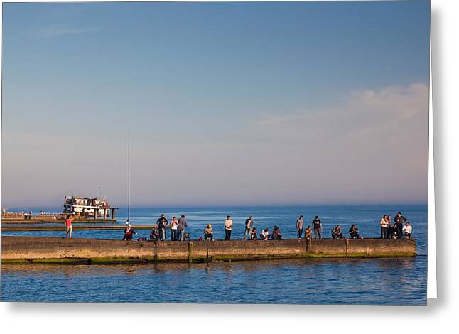 Sochi Russia Greeting Cards - Pier Fishing, Lighthouse Beach, Sochi Greeting Card by Panoramic Images