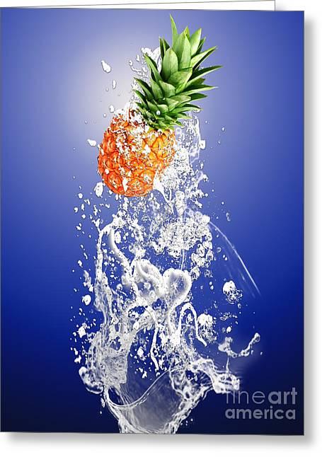 Pineapple Splash Greeting Card by Marvin Blaine