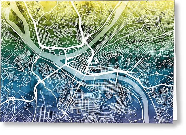 Streets Greeting Cards - Pittsburgh Pennsylvania Street Map Greeting Card by Michael Tompsett