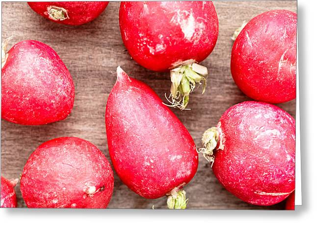 Red Radish Greeting Cards - Radishes Greeting Card by Tom Gowanlock