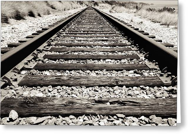 Lines Greeting Cards - Railway tracks  Greeting Card by Les Cunliffe