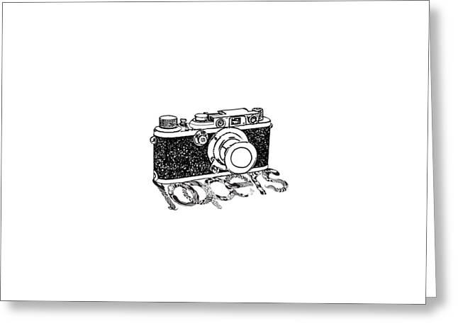 Equipment Drawings Greeting Cards - Rangefinder Camera Greeting Card by Setsiri Silapasuwanchai