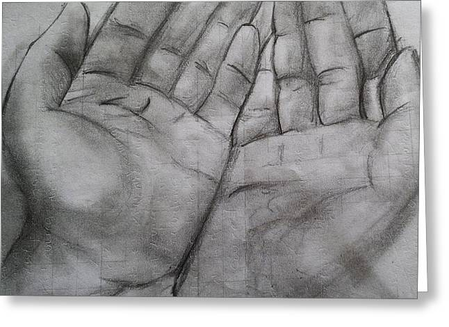 Praying Hands Greeting Cards - RDS Arts Greeting Card by Roshan Shetty