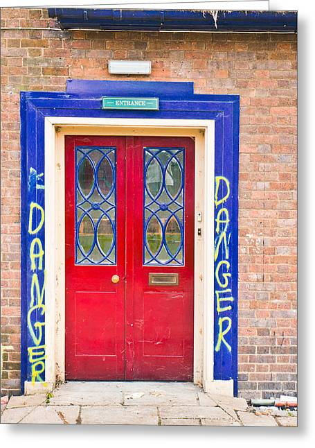 Building Feature Photographs Greeting Cards - Red door Greeting Card by Tom Gowanlock