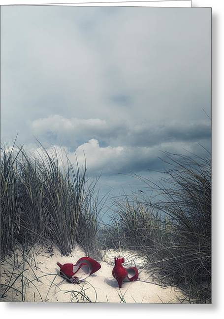 Coastal Dunes Greeting Cards - Red High Heels Greeting Card by Joana Kruse