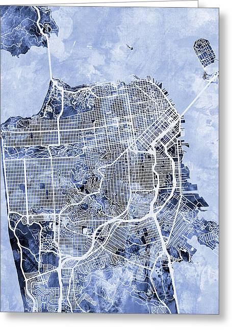 America City Map Greeting Cards - San Francisco City Street Map Greeting Card by Michael Tompsett