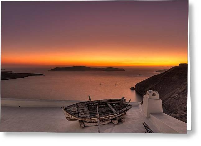 Thirasia Greeting Cards - Santorini - Greece Greeting Card by Constantinos Iliopoulos