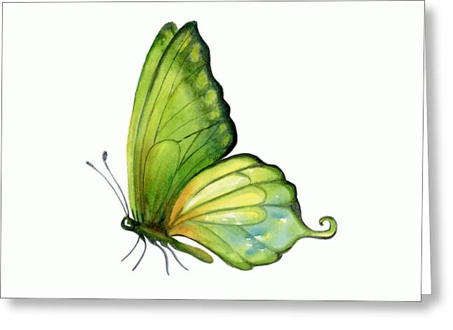5 Sap Green Butterfly Greeting Card by Amy Kirkpatrick