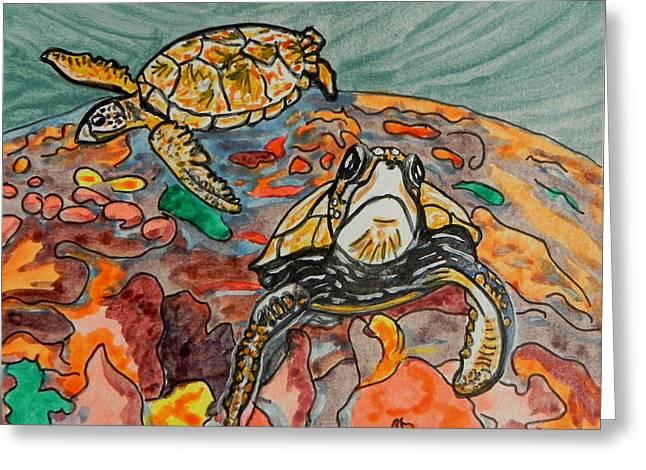 Aquatic Greeting Cards - Sea Turtle Greeting Card by W Gilroy