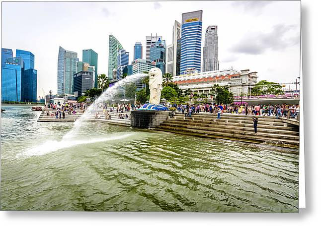 Reflection In Water Greeting Cards - Singapore Cityscape Greeting Card by Jijo George