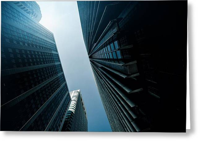 Geometric Image Greeting Cards - Skyscraper downtown district Greeting Card by Leonardo Patrizi