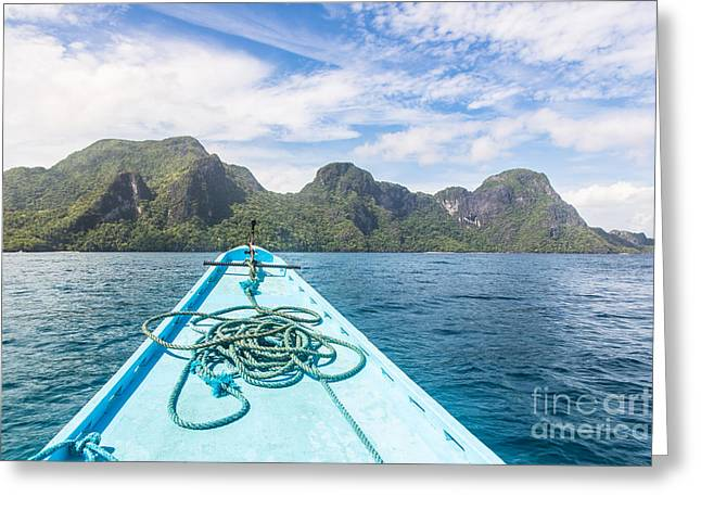 Boats In Water Greeting Cards - Stunning beach in El Nido, Philippines Greeting Card by Didier Marti