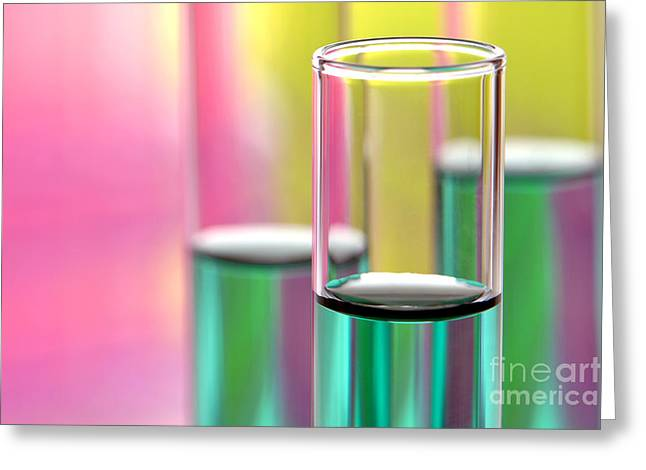 Test Tube Greeting Cards - Test Tubes in Science Research Lab Greeting Card by Olivier Le Queinec