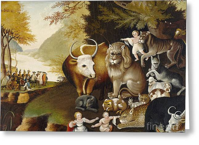 Peaceable Greeting Cards - The Peaceable Kingdom Greeting Card by Celestial Images