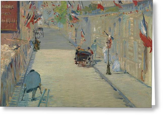 The Rue Mosnier With Flags Greeting Card by Edouard Manet