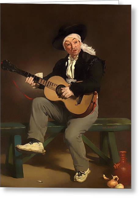 Playing Musical Instruments Greeting Cards - The Spanish Singer Greeting Card by Edouard Manet