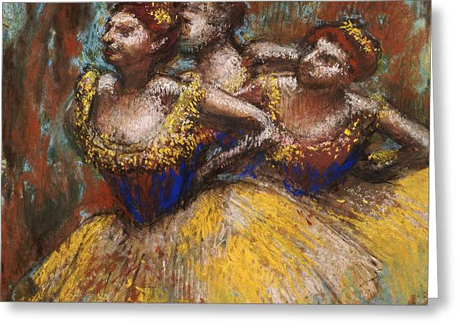 Yellows Pastels Greeting Cards - Three Dancers Greeting Card by Edgar Degas