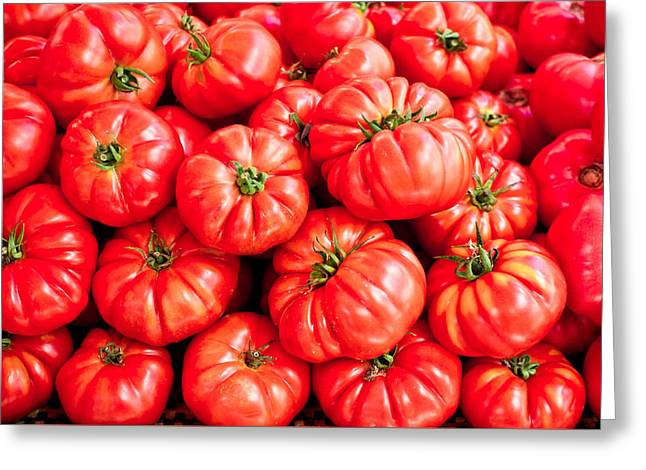 Backdrop Greeting Cards - Tomatoes Greeting Card by Tom Gowanlock
