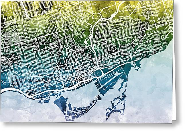 Streets Digital Greeting Cards - Toronto Street Map Greeting Card by Michael Tompsett