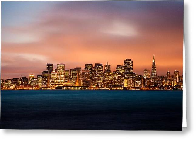 Famous Bridge Greeting Cards - Twilight in San Francisco Greeting Card by Leonardo Patrizi