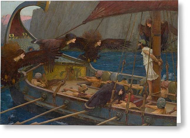 Camelot Greeting Cards - Ulysses And The Sirens Greeting Card by John William Waterhouse