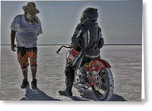 Salt Flats Racer Greeting Cards - Untitled Greeting Card by Nick Roberts
