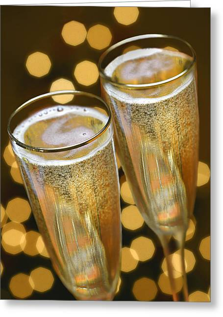 Champagne Glasses Greeting Cards - Untitled Greeting Card by Simon Kayne