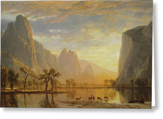 Landscape Painter Greeting Cards - Valley of the Yosemite Greeting Card by Albert Bierstadt
