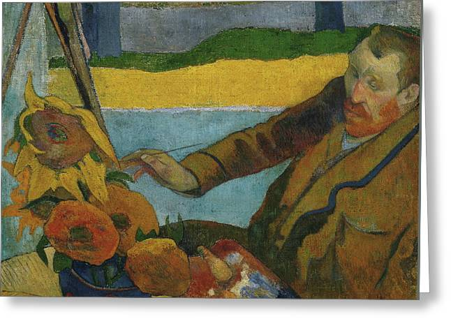 Vincent Van Gogh Painting Sunflowers  Greeting Card by Paul Gauguin