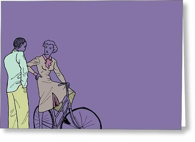 Ladies Bike Greeting Cards - Vintage Bike Couple Greeting Card by Karl Addison