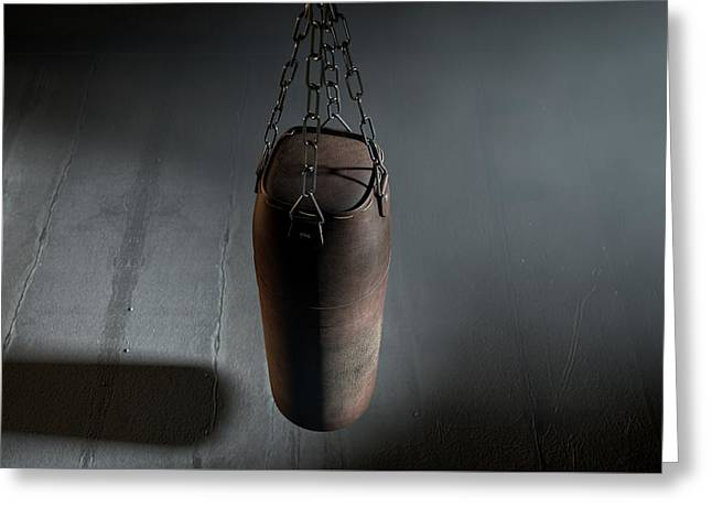 Vintage Leather Punching Bag Greeting Card by Allan Swart