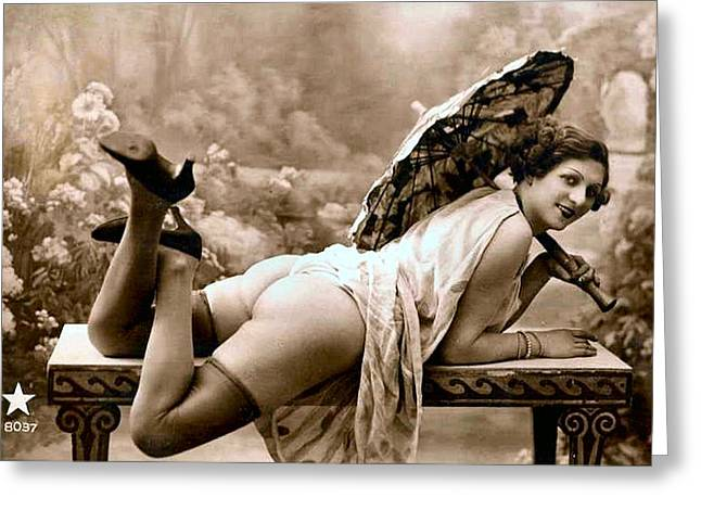 Vintage Nude Postcard Image Greeting Card by Unknown