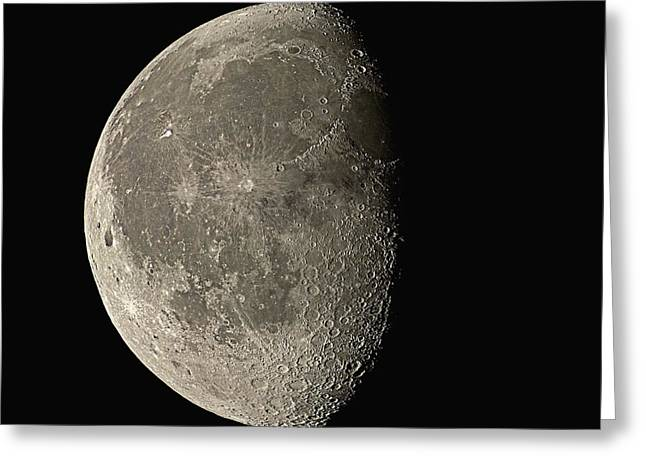 Sunlit Greeting Cards - Waning Gibbous Moon Greeting Card by Eckhard Slawik