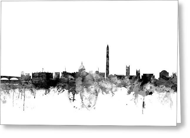 Washington D.c. Digital Art Greeting Cards - Washington DC Skyline Greeting Card by Michael Tompsett