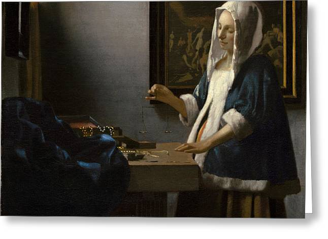 Woman Holding A Balance Greeting Card by Johannes Vermeer
