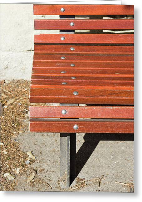 Wooden Bench Greeting Card by Tom Gowanlock