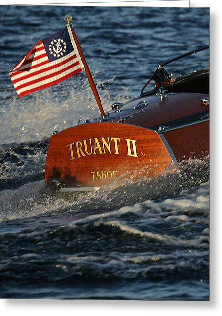 Mahogany Red Greeting Cards - Yacht Ensign Greeting Card by Steven Lapkin