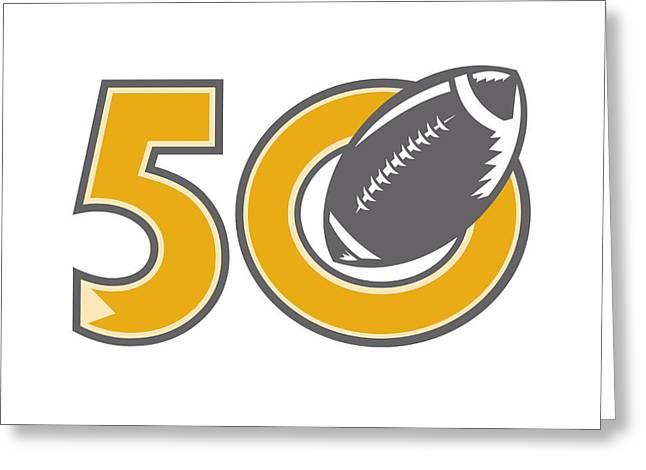 50 Pro Football Championship Ball Greeting Card by Aloysius Patrimonio