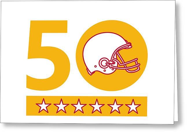 50 Pro Football Championship Sunday Helmet Greeting Card by Aloysius Patrimonio