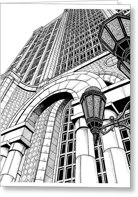 Conor Drawings Greeting Cards - 500 Boylston Street, Boston Greeting Card by Conor Plunkett