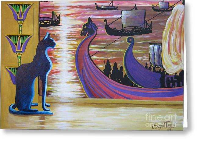 Vikings Paintings Greeting Cards - 506 Egyptian Cat Zig views Viking Longships Greeting Card by Sigrid Tune