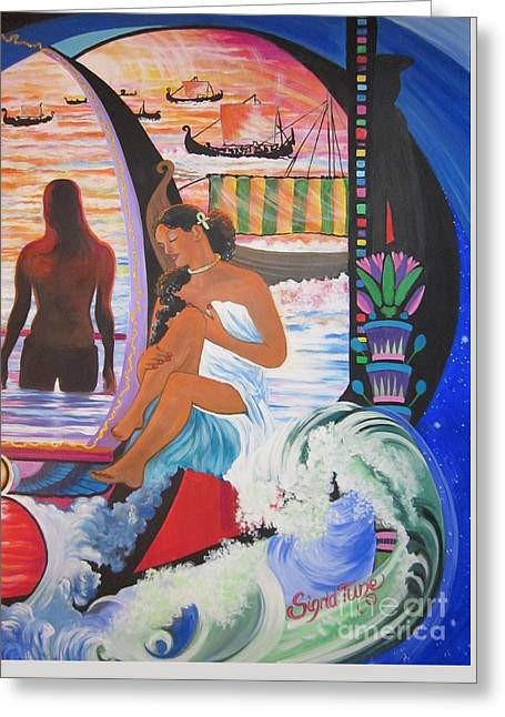 Vikings Paintings Greeting Cards - 507d  ISIS at the POOL Viking Ships on the NILE Greeting Card by Sigrid Tune