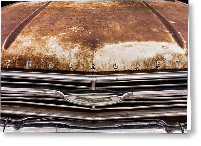 Rusted Cars Greeting Cards - 50s Chevrolet front end Greeting Card by Jim Hughes
