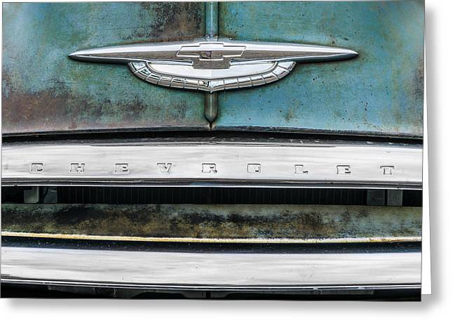 Corroded Greeting Cards - 50s Chevrolet logo Greeting Card by Jim Hughes