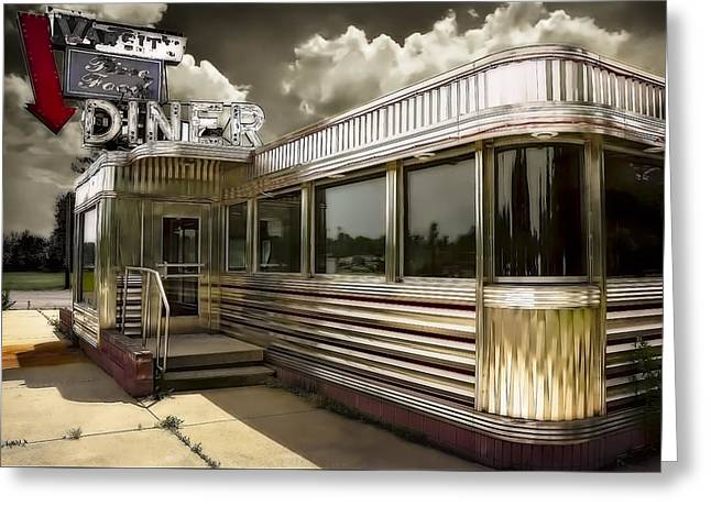 Summer Storm Greeting Cards - 50s DINER Greeting Card by Jerry Golab