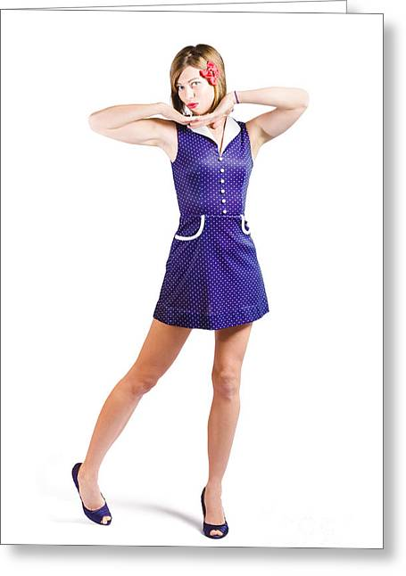 50s Pin-up Girl In Retro Purple Polka Dot Dress Greeting Card by Jorgo Photography - Wall Art Gallery